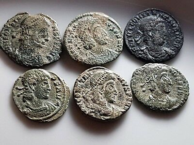 Lot Of 6 Ancient Roman Bronze Coins Constantius Ii