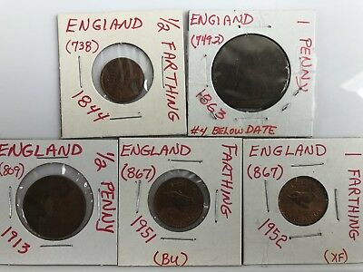 Lot of 5 English Coins Half Farthing, Farthings, Half Penny, Penny UK GB 0811J