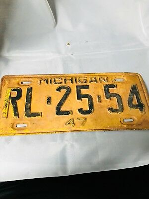 1947 Michigan License Plate #RL-25-54