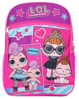 "LOL SURPRISE MAKEOVER!  Girl 16"" Inches PINK PURPLE School Backpack"