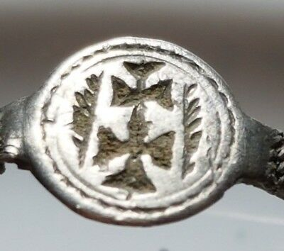 Crusader Ring ** Double Cross ** Silver Byzantine Ring ** Rare !!!