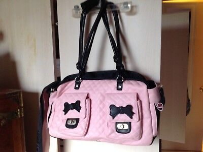 Pet Carrier Small (Pink&Black) 2 bows on 2 front Pockets(Companion Road)
