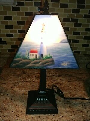 Lighthouse Lamp with Various lighthouse scenes on shade