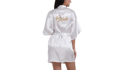 Wedding Bridal Brides Robe Gown. Personalised with Gold Glitter Lettering.BRIDE