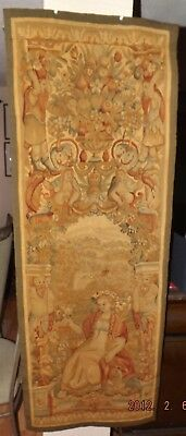 Antique Tapestry hand knotted Flemish wall hanging 19th century wool textile