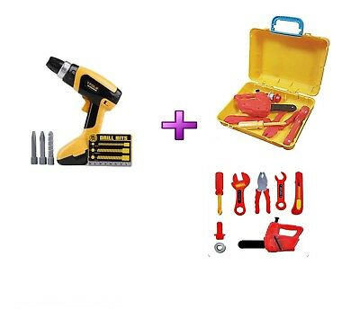 Kids Tool Kit Box Case Toys Play Set Screwdriver Battery OPR Drill Child Gift ES