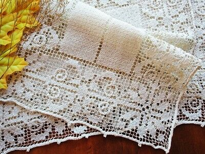 Superb Antique Handmade Italian Knotted Lace Placemat SET of 8 No Damage -Clean!