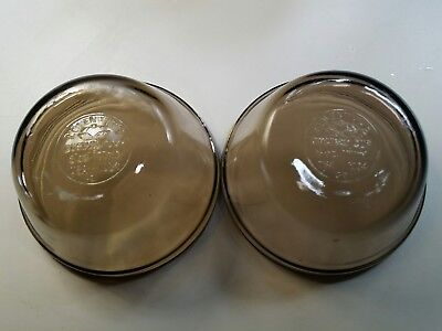 Set of 2 Lovenware Custard Cup Clear Glass 6 Oz Brown Amber