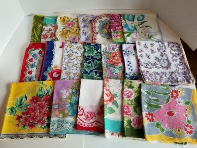 Vintage Ladies Hankies Lot of 20 All Florals