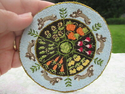 Dollhouse Miniatures Beautiful Hand Made French Knot Rug w/ Bunnies & Vegetables