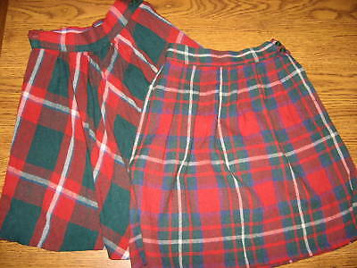 TWO VINTAGE GIRLS 1950's - 1960's RED PLAID SKIRTS LOT
