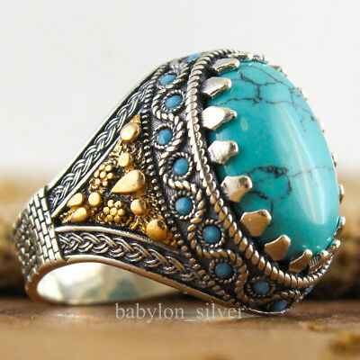 925 Sterling Silver Turquoise Stone SPECIAL Handmade Turkish Men Ring Size 11 US