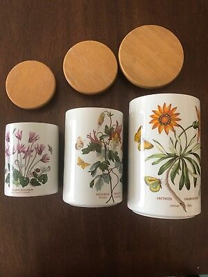 set 3 Portmeirion botanic garden canisters with lids