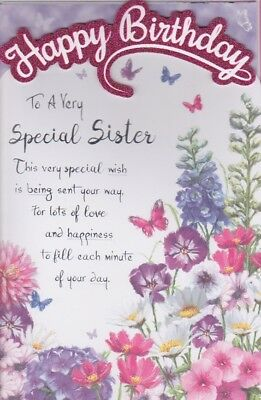 Large Sister Birthday Card 8 Page Colour Insert Verse Greeting