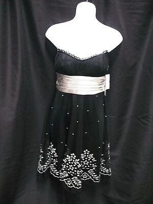 b45ce4de5 Nwt Juniors Womens Teeze Me Black Silver Cocktail Prom Dress Size S Small