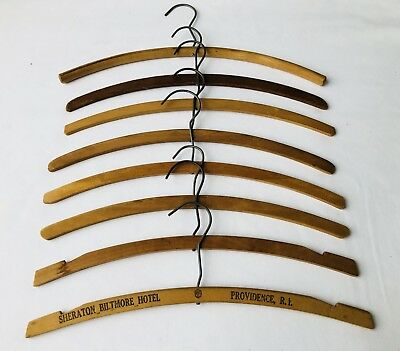 """Lot of 8 Vintage WOOD CLOTHES HANGERS (15-16"""") from the Mid-Century"""