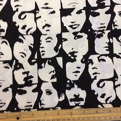 1 Fat Qtr FQ Alexander Henry IN CROWD Pop Art Faces 1970s RETRO  Black Fabric
