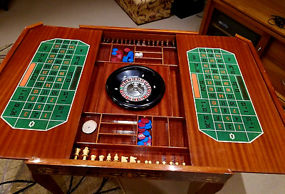 Roulette Wheel Games Table Italian Inlaid Wood