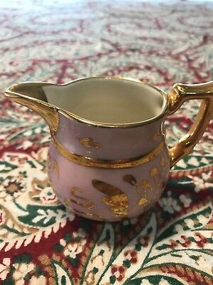 "Antique Rare Cumbow 35 Creamer Pitcher 2 1/4"" Tall Gold Trim Pink Color"