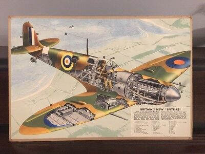 Britain's New Spitfire Rare Circa 1940 WWII Color Litho Poster RAF WWII Aviation