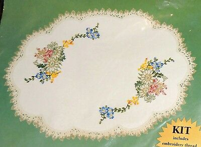 Kit Linen Doily Table Centre Wild Flowers Stamped Traced Printed Embroidery 45cm