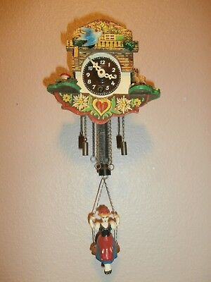 Vintage Miniature NOVELTY CUCKOO CLOCK w/BOUNCING GIRL Pendulum---Collectible!
