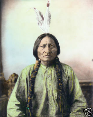"SITTING BULL NATIVE AMERICAN SIOUX INDIAN 1884 8x10"" HAND COLOR TINTED PHOTO"