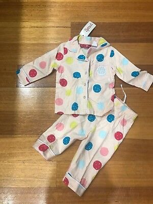 New Bnwt Sprout Baby Girl Size 0 6-12 Months Pajamas Set Pink Red Blue Myer