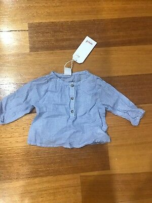 New Bnwt Seed Heritage Baby Girl Top Blue Size 000 0-3 Months 100% Cotton