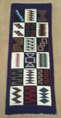 AZTEC RUG, RUNNER, TEXTILE, 2' by 5', Wool, Traditional Mezo-American Design