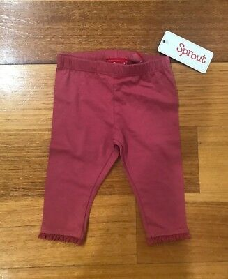 New Bnwt Sprout Leggings Pants Pink Baby Girl Size 000 0-3 Months