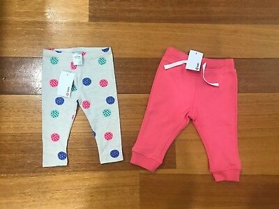 New Bnwt Baby Girl Pants X2 Leggings Target Pink Size 00 3-6 Months Trackies