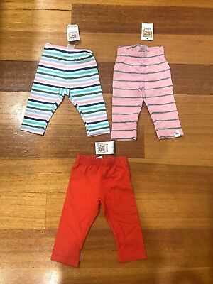 Charlie & Me Baby Leggings Girls New Bnwt X 3 Size 000 0-3 Months Pink Pants