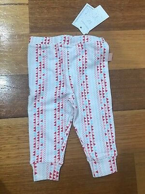 New Bnwt Pumpkin Patch Leggings Girls Baby Size 00 3-6 Months Pants Pink Red