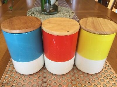 Set Of 3 Cannisters With Wooden Lids