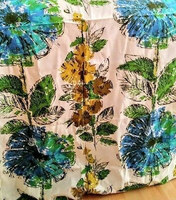 Vintage Mid Century Blue Green Stylized Floral Curtain Fabric Cushions Pillows
