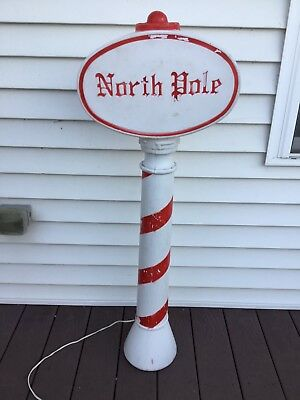 "Vtg 45"" Union North Pole Sign Christmas Blow Mold"