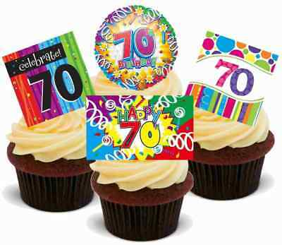 Bingo Carte 70TH Anniversaire 12 comestible stand up PREMIUM GAUFRE gâteau Toppers