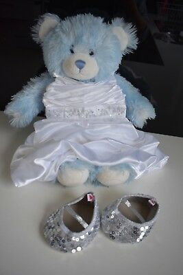Build A Bear with dress and sequin silver shoes