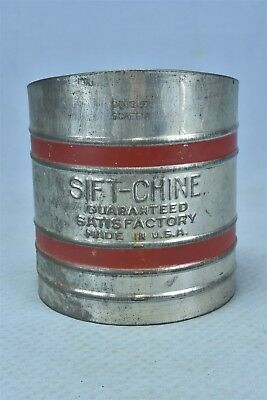 Antique HANDLED DOUBLE SCREEN SIFT-CHINE FLOUR SIFTER BAKING RED STRIPE #05330