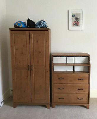 IKEA Diktad Wooden Baby Changing Table/Drawers & Small Wardrobe with Rail/Shelf