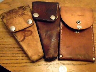 """3 Vintage Bell Employee Lineman Tool """" Bell System"""" LEATHER Snap Type Pouch's"""
