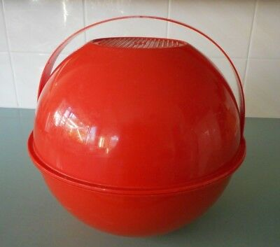 VINTAGE 1970s GUZZINI PICNIC BALL ATOMIC ORANGE  / RED Made in Italy Kartell era