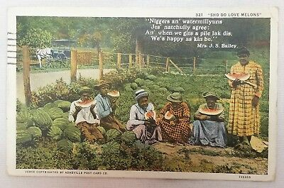 "Black Americana Racist Postcard ""Sho Do Love Melons"""