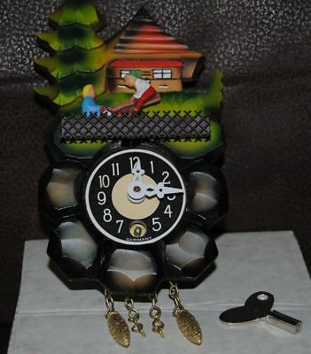 "Cuckoo Clock Made in Germany Wind Up 5"" Key No Pendulum See Saw Instructions"