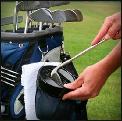 NEW!  AQUA CADDY Portable Golf Club Cleaner - Black with Cleaning Brushes -