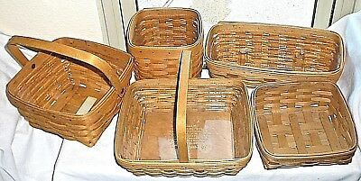 Longaberger Baskets Lot Of 5 Plastic Protector In 4 Signed Dated '97 01 02 03 05