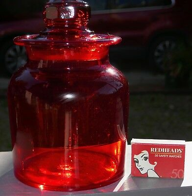 LOVELY VINTAGE RED APOTHECARY JAR or BOTTLE       lot 3 of 4