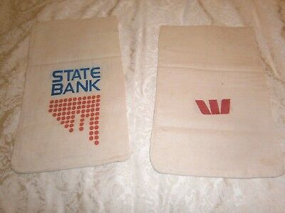 Two Vintage Cloth Bank Money Bags - State Bank And Westpac - Approx 25 X 41 Cms