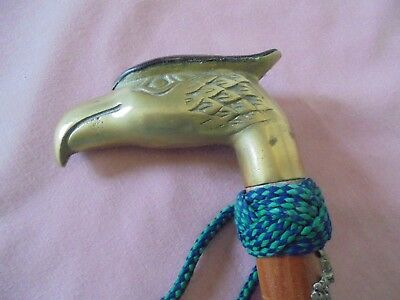 """Brass Eagle Head With Leather Grip Cap - Wooden 35"""" Walking Stick"""